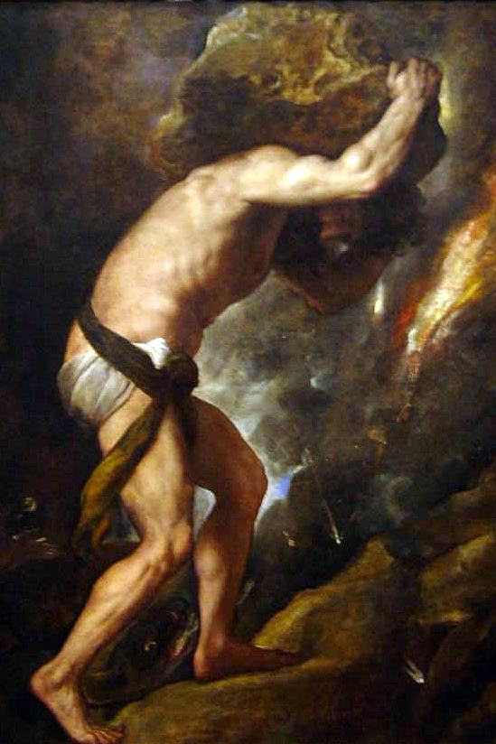 picture of Sisyphus pushing his boulder up the mountain